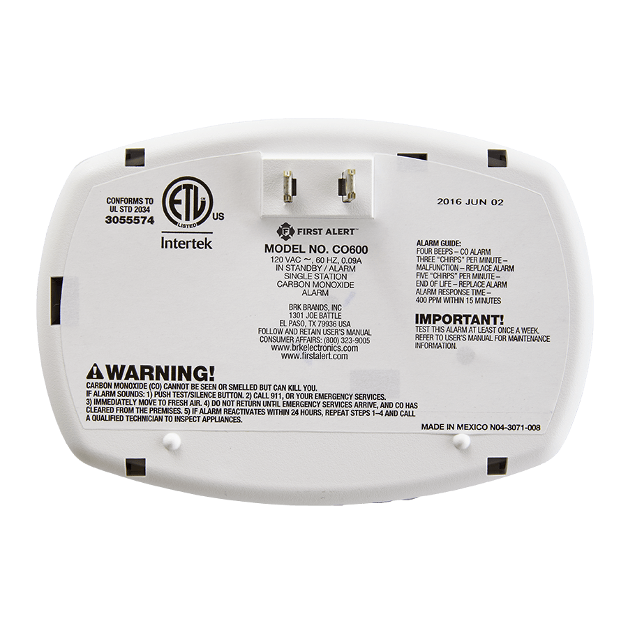 Plug In Carbon Monoxide Detector Co600